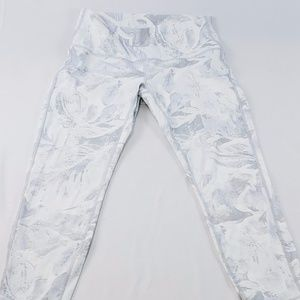 Lululemon white grey floral workout pant like new